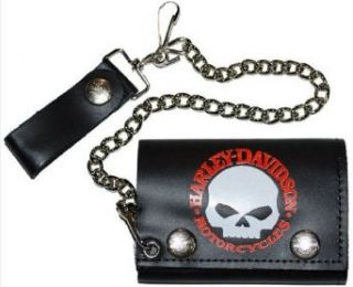 Harley Davidson Mens Tri Fold Skull Leather Wallet