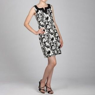 Jessica Howard Womens Black/White Split Neck Dress