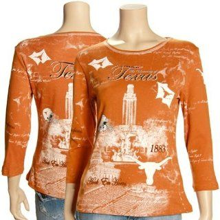 Texas Longhorns Womens Burnt Orange Rhinestone 3/4 Sleeve