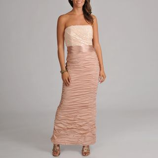 Cachet Womens Strapless Ruched Long Gown
