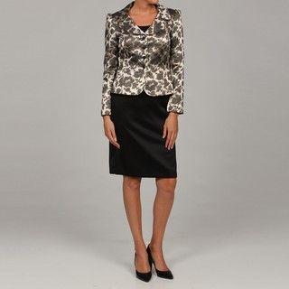 Tahari Gold/ Black Jacquard Skirt Suit