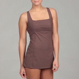 Calvin Klein Womens Pleat front Solid Swim Dress