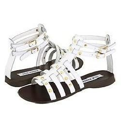 Steve Madden Charrger White Leather Sandals