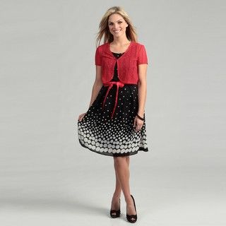 Studio 1 Womens 2 piece Polka Dot Jacket Dress