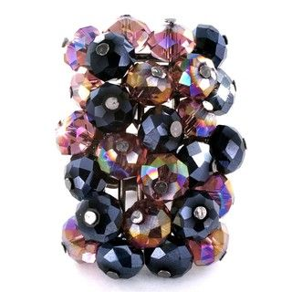 Hematite Colored Faceted Smoky Quartz Crystal Beads Stretch Ring