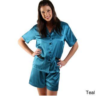 Alexander Del Rossa Womens Satin Short Pajama Set