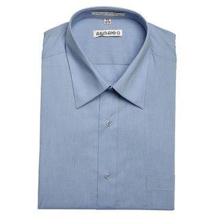 Armando Mens Peacock Blue Convertible Cuff Dress Shirt