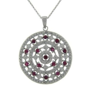 Serling Silver Ruby and Diamond Accen Medallion Necklace