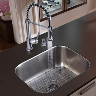 Vigo Undermount Stainless Steel Kitchen Sink, Faucet, Grid and
