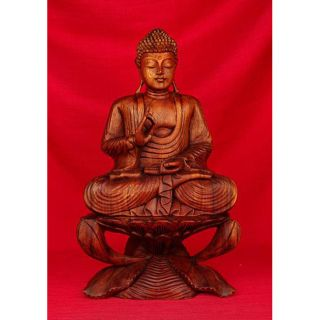 Wooden 20 inch Buddha Sitting on Lotus Sculpture (India)
