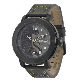 Ed Hardy Mens Black Steel Eagle Watch