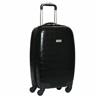 Black Venezia Croco Embossed 20 inch Hardside Carry on Spinner Upright