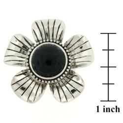 Meredith Leigh Sterling Silver Onyx Flower Ring