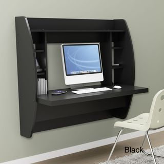 Broadway Black Floating Desk with Storage