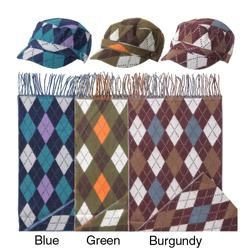Adi Designs Womens Argyle Print Military Cap and Scarf Set