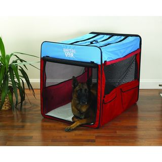 Guardian Gear Red/ Blue Extra large Collapsible Dog Crate