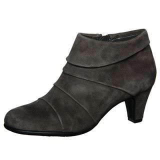 Aerosoles Womens Play Date Dark Grey Pleated Booties