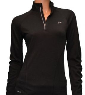 Nike Womens Dri Fit Wool Half Zip Running Shirt Black