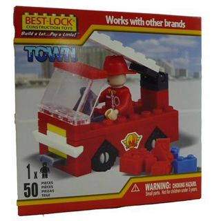 Best Lock 50 piece Fireman and Truck Construction Set
