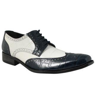 Giorgio Brutini Mens Navy/ White Leather Oxfords