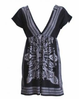 Ladies Black White Border Printed Tunic Dress Clothing
