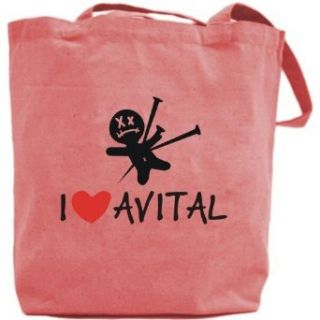 Canvas Tote Bag Pink  I Love Avital  Name Clothing