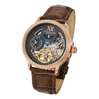 Stuhrling Original Mens DT Bridge Automatic Leather Strap Watch