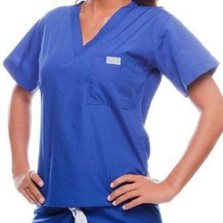 Large Galaxy Blue Medical Scrub Top Clothing