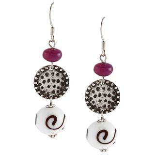 Alexa Starr Silvertone Purple Agate and Glass Bead Earrings