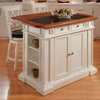 Deluxe Traditions White Distressed Oak finished Island and Two Bar