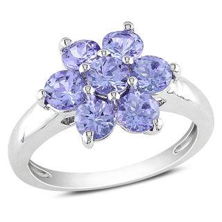 Miadora Sterling Silver Tanzanite Flower Ring