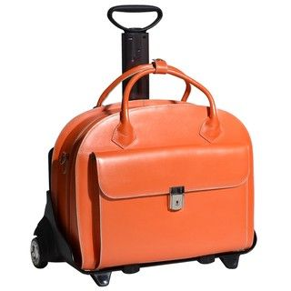 McKlein Orange Glen Ellyn Leather Detachable wheeled Laptop Case