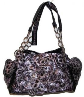 Purple Zebra Print Rhinestone Flower Hobo Tote Clothing