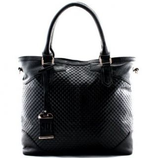 JOHN DAVID Benatar Embossed Leather Tote, Black Clothing