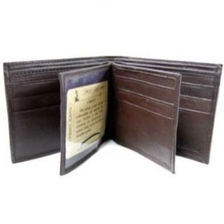 Dark Brown Leather 12 Credit Card Slot Mens Wallet