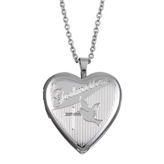 Silvertone Engraved Godmother 20 mm Heart Locket Necklace