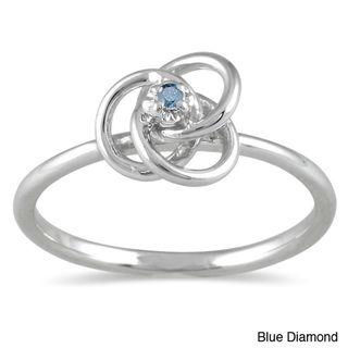 10k White Gold Blue Diamond Promise Ring