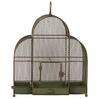 Green Antiqued Metal Bird Cage