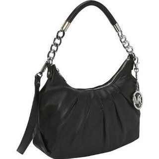 MICHAEL Michael Kors Erin Medium Leather Shoulder Bag (Black) Shoes
