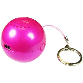 Round Ball Fuchsia Pink Key Chain Mini Speaker