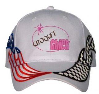 CROQUET Chick USA Flag / Checker Racing Hat / Baseball Cap
