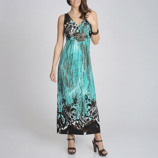 Richards Womens Turquoise Printed Maxi Dress