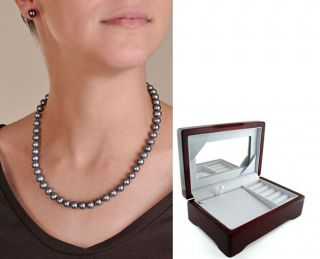 Black Pearl Necklace and Earring Set (8 9 mm/ 18 in)