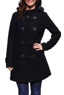 BGSD Womens Wool Blend Faux Fox Fur Trimmed Toggle Jacket