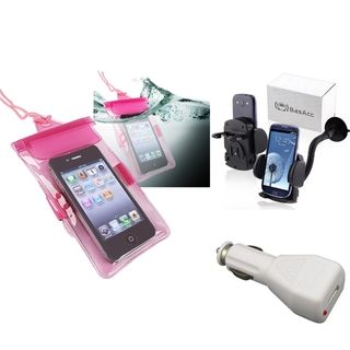 BasAcc Hot Pink Waterproof Bag/ Holder/ Car charger for Apple iPhone 5