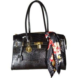 Vecceli Italy Black Alligator Skin Embossed Handbag by Ronella Lucci