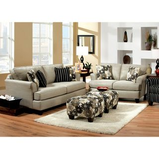Florise Contemporary 2 Piece Plush Sofa Love Set
