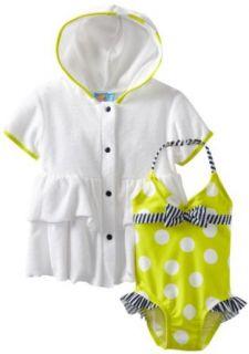 Baby Bunz Girls Infant Big Dots N Stripe, Green/White, 24