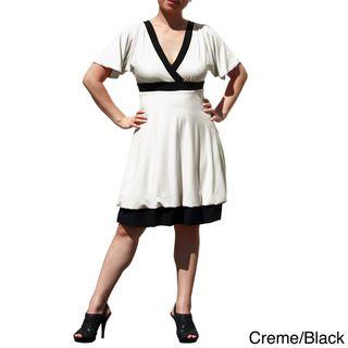 Evanese Womens Plus Size Two tone Bubble hem Dress