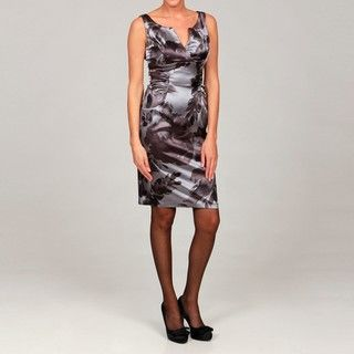 London Times Womens Printed Satin Sleeveless Sheath Dress